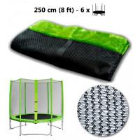 AGA ochranná sieť na trampolínu s celkovým priemerom 250 cm na 6 tyčí svetlozelená