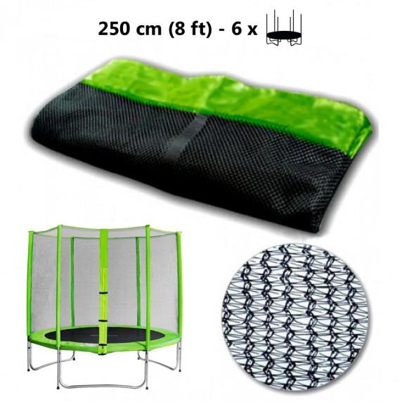 Ochranná sieť na trampolínu s celkovým priemerom 250 cm na 6 tyčí svetlozelená AGA - čierna - svetlozelená