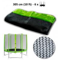 AGA ochranná sieť na trampolínu s celkovým priemerom 305 cm na 6 tyčí - svetlozelená