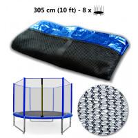 AGA ochranná sieť na trampolínu s celkovým priemerom 305 cm na 8 tyčí - modrá