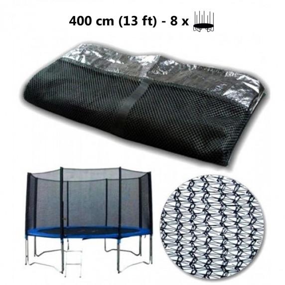 Ochranná sieť na trampolínu s celkovým priemerom 400 cm na 8 tyčí AGA - čierna