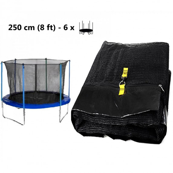 Vnútorná ochranná sieť na trampolínu s celkovým priemerom 250 cm na 6 tyčí AGA - čierna