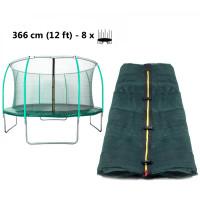 AGA vnútorná ochranná sieť na trampolínu s celkovým priemerom 366 cm na 8 tyčí (kruh) - tmavozelená