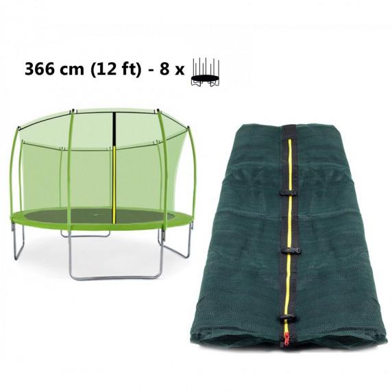 AGA vnútorná ochranná sieť na trampolínu 366 cm na 8 tyčí - zelená