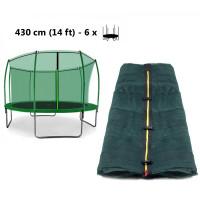 AGA vnútorná ochranná sieť na trampolínu s celkovým priemerom 430 cm na 6 tyčí (kruh) - tmavozelená
