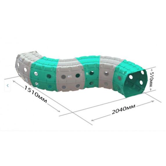Hrací tunel 240 x 151 x 51 cm Inlea4Fun - sivý/tyrkysový