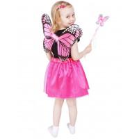 GoDan Detský kostým Motýlia víla s krídlami - ružový