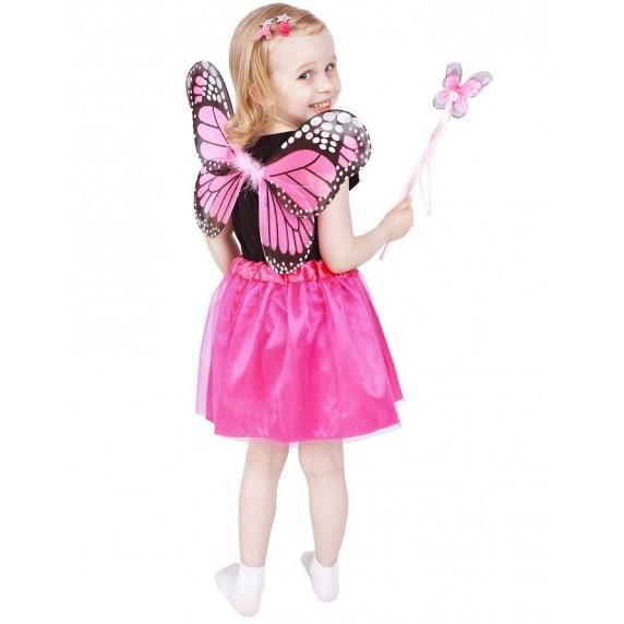 Detský kostým Motýlia víla s krídlami - ružový - GoDan