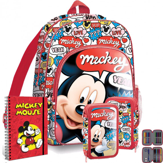 Kids Licensing školský set Mickey - batoh + peračník s príslušenstvom