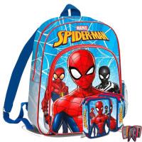 Kids Licensing školský set SPIDERMAN - batoh + peračník s príslušenstvom -svetlo modrá