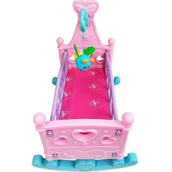 Inlea4Fun ROCKING BED Kolíska pre bábiky - ružová