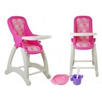 Jedálenská stolička pre bábiky POLESIE - ružová kvetinkovaná