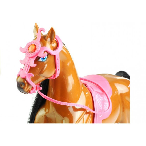 Inlea4Fun HORSES FAMILY Bábika s hnedým koňom a doplnkami