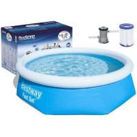 BESTWAY Fast Set samonosný rodinný bazén s kartušovou filtráciou 244 x 66 cm 57268