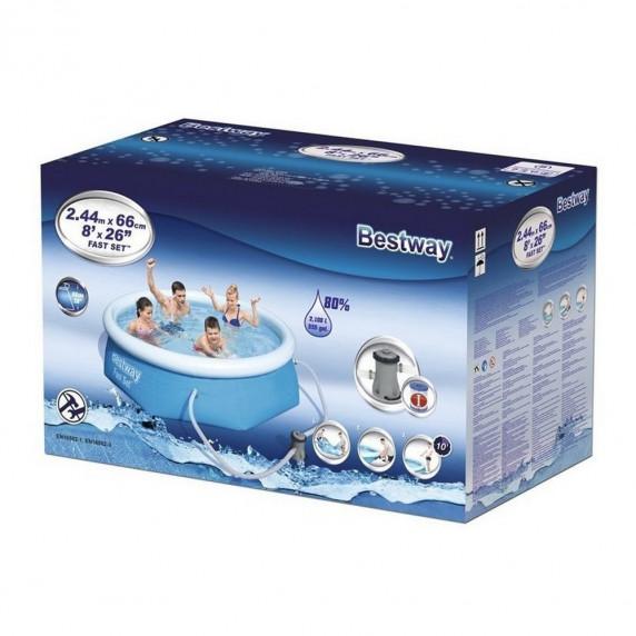 Samonosný rodinný bazén s kartušovou filtráciou 244 x 66 cm BESTWAY Fast Set  57268
