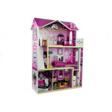 Inlea4Fun drevený domček pre bábiky s piatimi izbami VILLA
