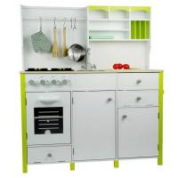 Inlea4Fun detská drevená kuchyňa MERYS s príslušenstvami - zelená/biela