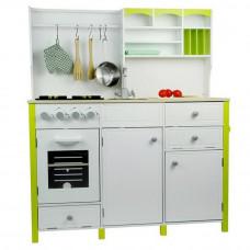 Inlea4Fun detská drevená kuchyňa MERYS s príslušenstvami - zelená/biela Preview