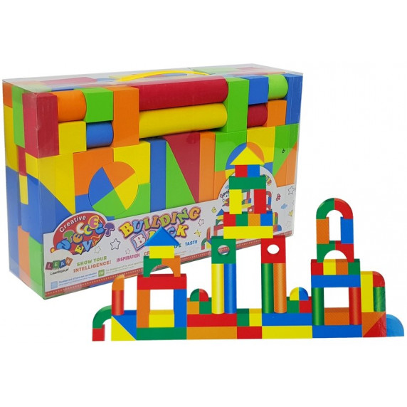 Inlea4Fun BUILDING BLOCK drevené farebné tvary 131 kusov
