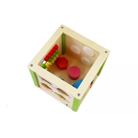 Drevená vzdelávacia kocka s bludiskom Inlea4Fun KORALKI