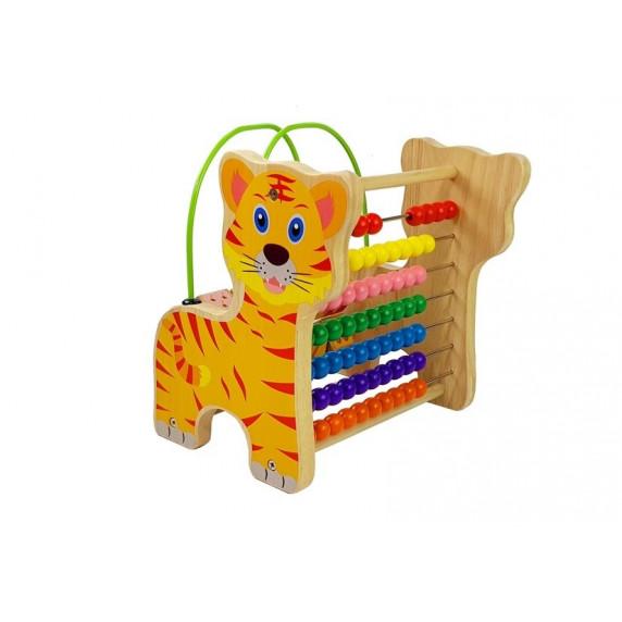 Drevené počítadlo s číslicami Inlea4Fun Tiger