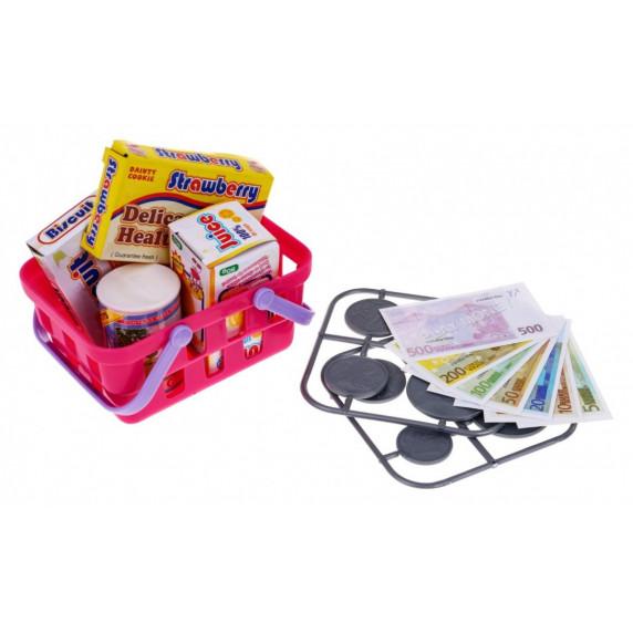 Detská pokladňa s nákupným košíkom - ružová/biela Inlea4Fun CASH REGISTER