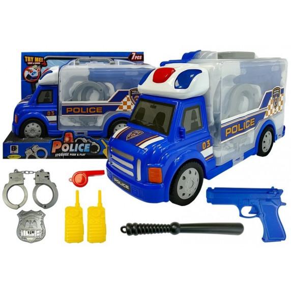 Inlea4Fun POLICE STORAGE Policajné auto v kufríku s príslušenstvom