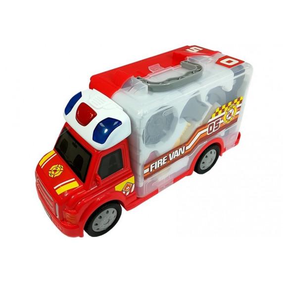 Inlea4Fun FIRE CONTROL STORAGE Hasičské auto v kufríku s príslušenstvom