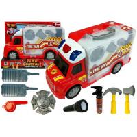 Hasičské auto v kufríku s príslušenstvom Inlea4Fun FIRE CONTROL STORAGE