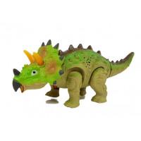 Inlea4Fun Dinosaurus figúrka na batérie - Triceratops zelený