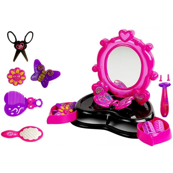 Kozmetické zrkadlo ružovo - čierne Inlea4Fun DRESSING TABLE