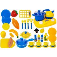 Inlea4Fun DREAM KITCHEN Detský riad s doplnkami - modrý/žltý