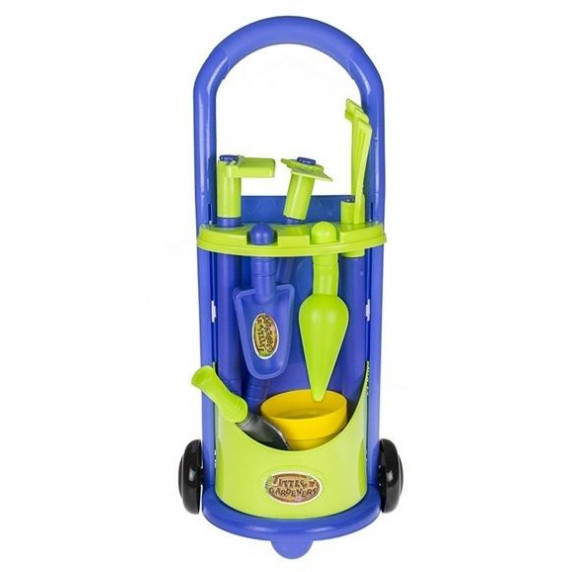 Záhradný vozík s náradím na kolieskach pre deti Inlea4Fun LITTLE GARDENERS