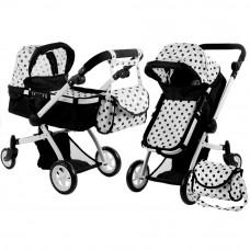 Kočík pre bábiky ALICA hlboký/športový 2v1 čierno-biely Preview