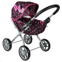 Detský kočík pre bábiky ALICA BUGGY  čierno-ružový