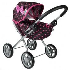Detský kočík pre bábiky ALICA BUGGY  čierno-ružový Preview