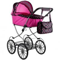 Detský kočík pre bábiky ALICA RETRO ružovo-čierny + taška