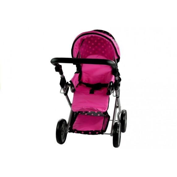 Detský kočík pre bábiky ALICA čierno-ružový + taška