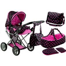 Detský kočík pre bábiky ALICA čierno-ružový + taška Preview