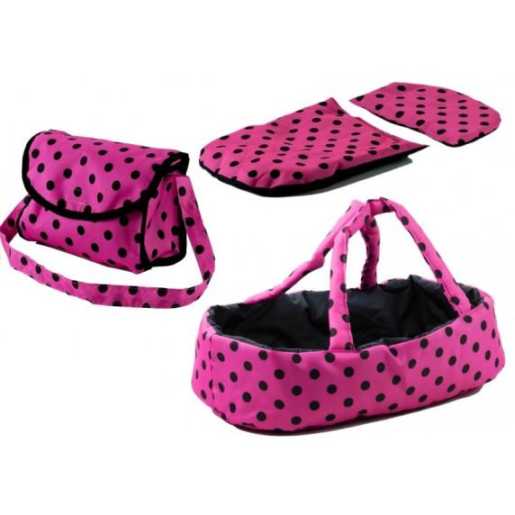 Detský kočík pre bábiky ALICA ružovo-čierny + taška