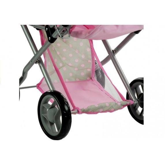 Detský kočík pre bábiky ALICE sivo-ružový + taška