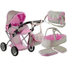 Detský kočík pre bábiky ALICE sivo-ružový + taška Preview