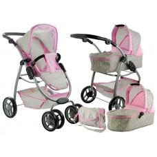 Kočík pre bábiky AILCA 2v1 sivo-ružový  Preview