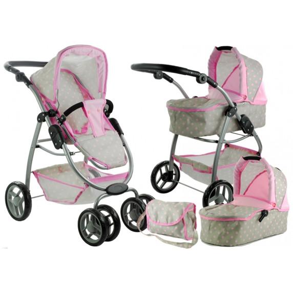 Kočík pre bábiky AILCA 2v1 sivo-ružový