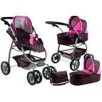 Kočík pre bábiky ALICA 2v1 čierno-ružový