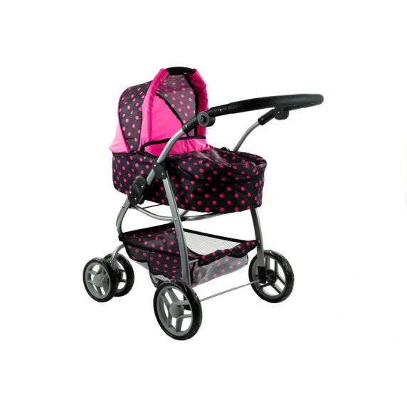 Kočík pre bábiky ALICA 2v1 sivo-ružový