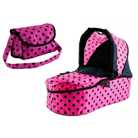 Kočík pre bábiky ALICA 2v1 ružovo-čierny