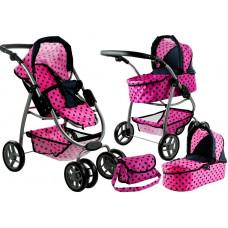 Kočík pre bábiky ALICA 2v1 ružovo-čierny Preview