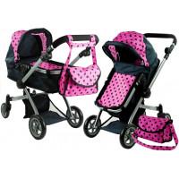 Kočík pre bábiky ALICA hlboký/športový 2v1 čierno-ružový