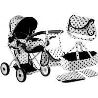 Detský kočík pre bábiky ALICA čierno-biely + taška